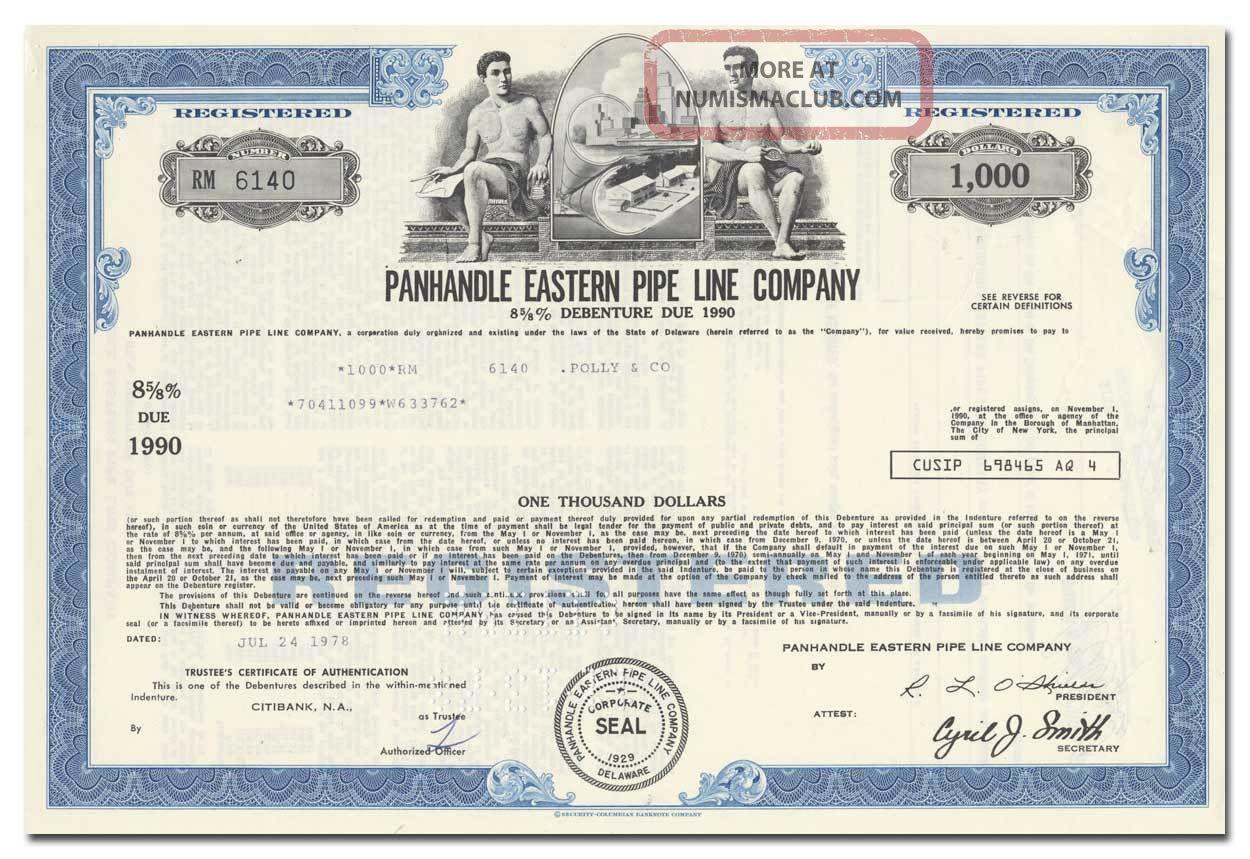 Panhandle Eastern Pipe Line Company Bond Certificate Stocks & Bonds, Scripophily photo