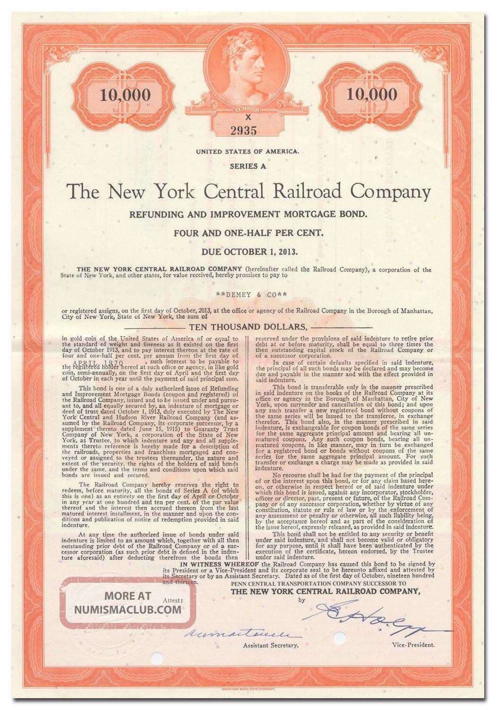 York Central Railroad Company Bond Certificate Transportation photo