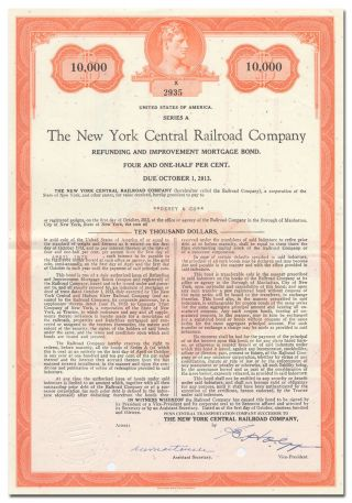 York Central Railroad Company Bond Certificate photo