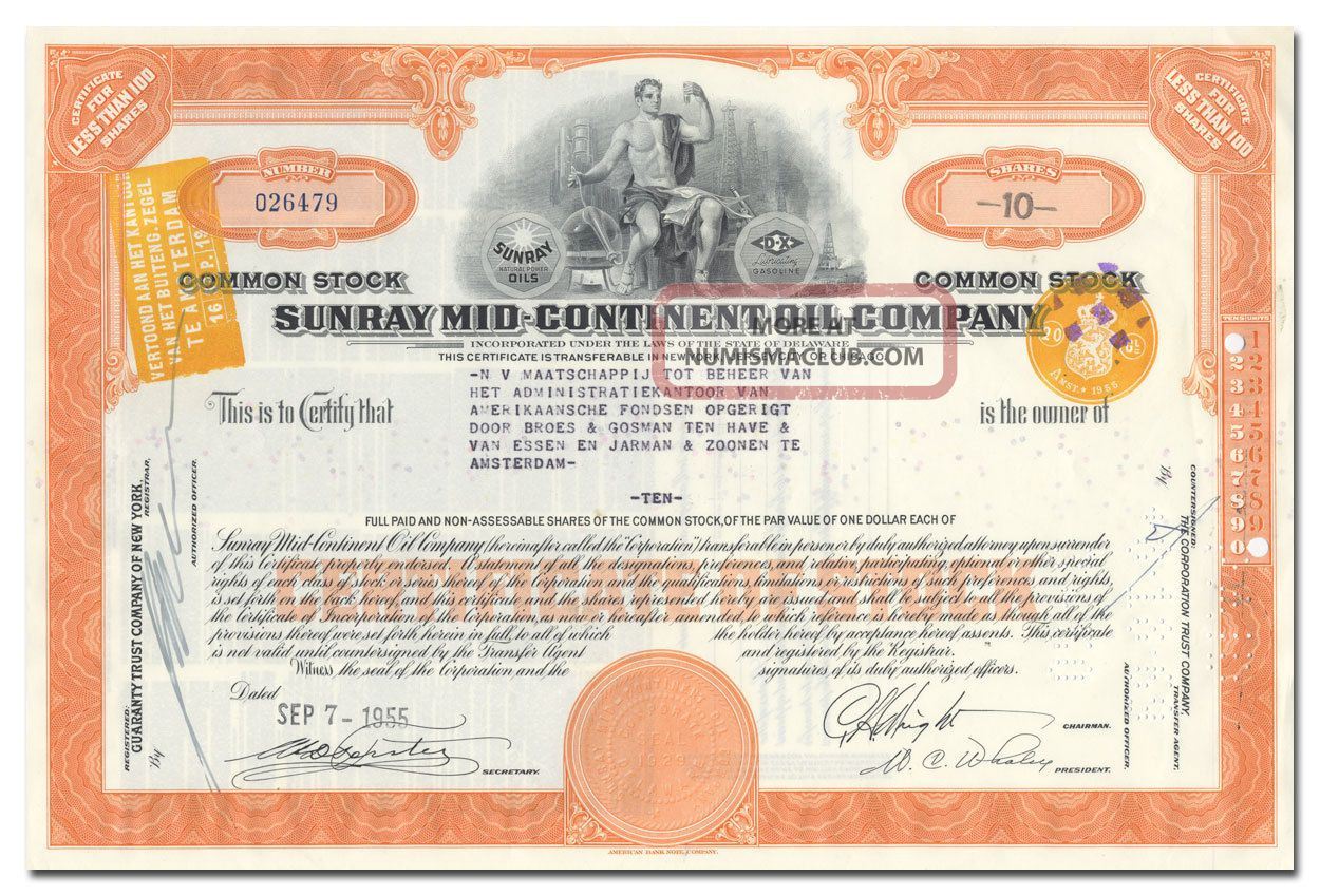 Sunray Mid - Continent Oil Company Stock Certificate Stocks & Bonds, Scripophily photo