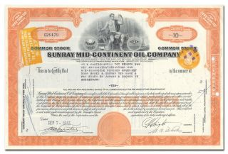 Sunray Mid - Continent Oil Company Stock Certificate photo