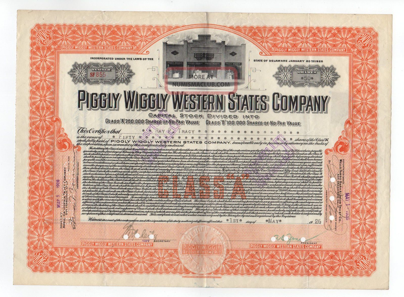Piggly Wiggly Western States Company Stock Certificate Stocks & Bonds, Scripophily photo