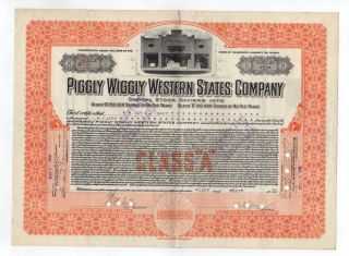 Piggly Wiggly Western States Company Stock Certificate photo