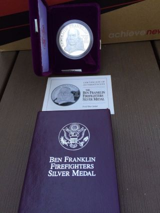 Benjamin Franklin Firefighters 1 Oz Silver Medal - Proof photo