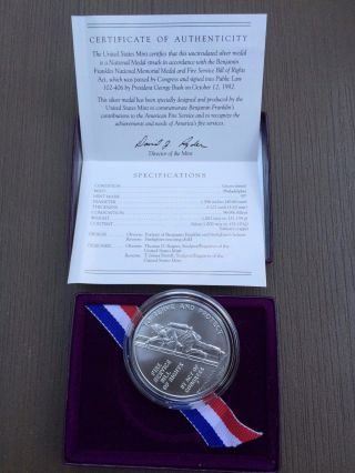 Benjamin Franklin Firefighters 1 Oz Silver Medal photo