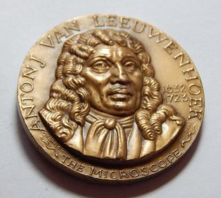 Vintage 1970 Medallic Arts High Relief Bronze Medal - Anton Van Leeuwenhoek photo