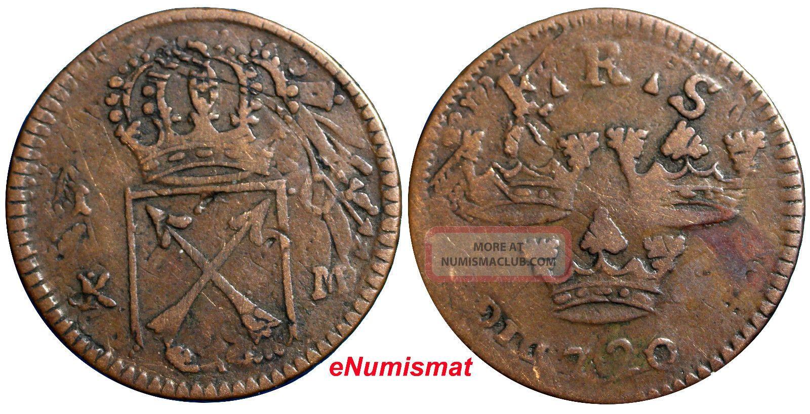 Sweden Copper 1720 K.  M.  1 Ore Overstruck On 1 Daler S.  M.  1718