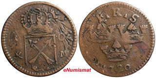Sweden Copper 1720 K.  M.  1 Ore Overstruck On 1 Daler S.  M.  1718