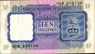 Great Britain Military Currency 10 Shillings P M5 Vf, photo