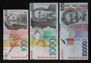 Slovenia 100,  1000 & 10000 Tolarjev 2003,  Eu Entry 2004.  P 28,  29 & 30.  Unc. photo