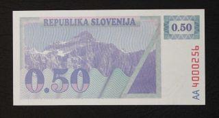 Slovenia 0.  50 Tolar 1990.  P 1a.  Unc.  Quite Difficult Note. photo