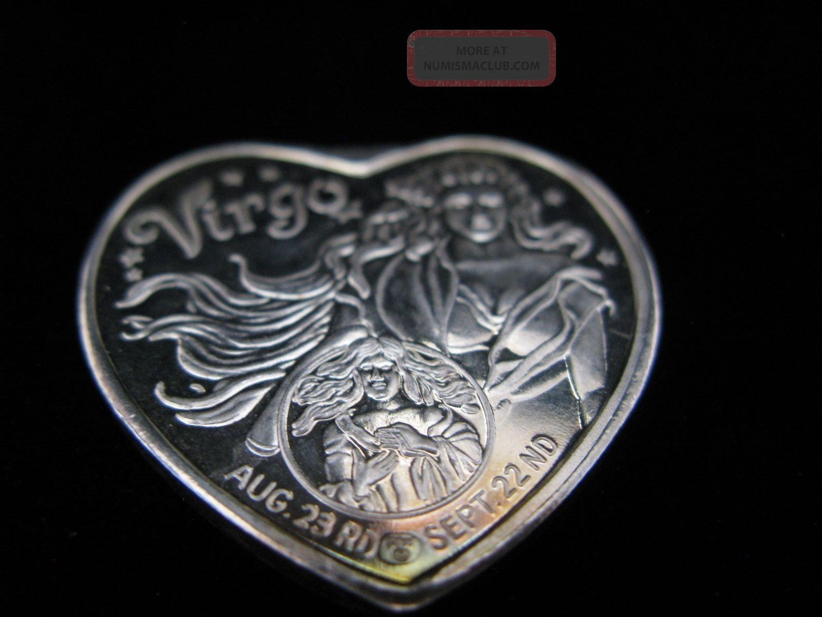 Virgo Zodiac Heart Shaped 1 Troy Ounce Silver 999 Fine
