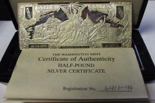 1996 8 Troy Ounces (half - Pound).  999 Fine Silver Bar Silver Certificate Design photo