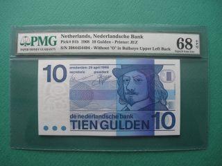 1968 Nethelands 10 Gulden Pmg 68 Epq Gem Unc photo