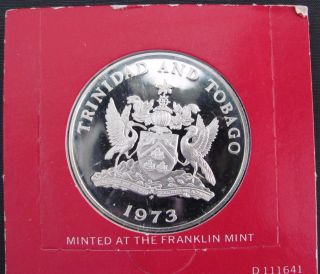 Trinidad And Tobago: 1973 Fm Proof Sterling Silver Five Dollars photo