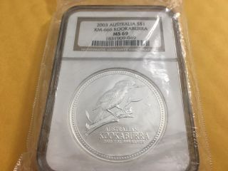 2003 One Oz.  999 Silver Kookaburra Australia Ms69 Ngc Certified photo