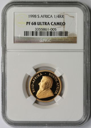 1998 South Africa Gold 1/4 Krugerrand Proof Pf 68 Ultra Cameo Ngc photo