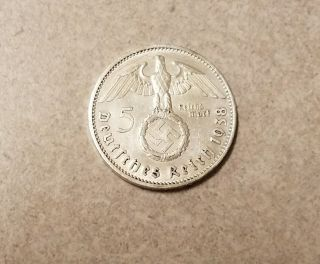 1938 A German 5 Mark Reichsmark Silver Swastika Hindenburg Nazi Ww2 photo