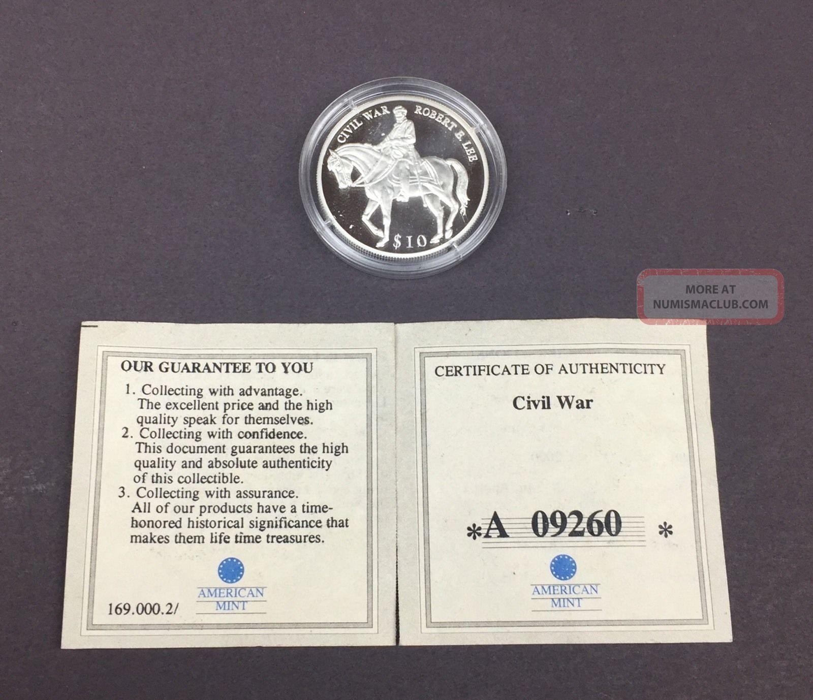 Civil War Robert E Lee 2000 Republic Of Liberia $10.  999 Silver Sku:265 Coins: World photo