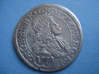 1676 Hungary Pressburg Leopold I Silver 6 Vi Kreuzer Coin photo