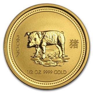 2007 Australia Lunar Gold Pig 1/2 Oz Bu Series I photo