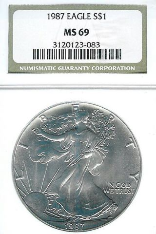 1987 American Silver Eagle : Ngc Ms69 photo