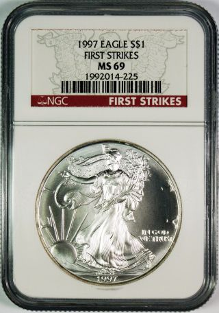 1997 $1 American Silver Eagle Ngc Ms69 First Strikes photo