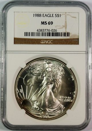 1988 $1 American Silver Eagle Ngc Ms69 photo