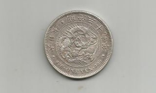 Ncoffin Japan Emperor Mutsuhito Meiji 39 (1906) Yen.  900 Fine Silver photo