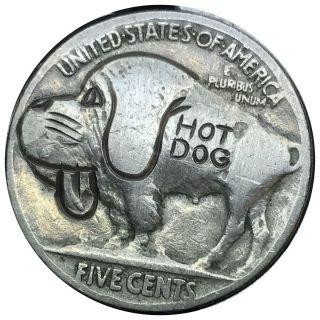 Coin Art Hobo Nickel Hot Dog 145 photo