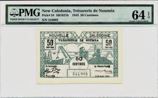 Tresorerie De Noumea Caledonia 50 Centimes 1943 Pmg 64epq photo