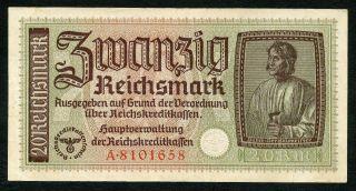 Germany Ww2 20 Reichsmark 1940 - 1945 Series A Vf photo
