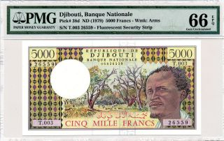 Banque Nationale Djibouti 5000 Francs Nd (1979) Pmg 66epq photo