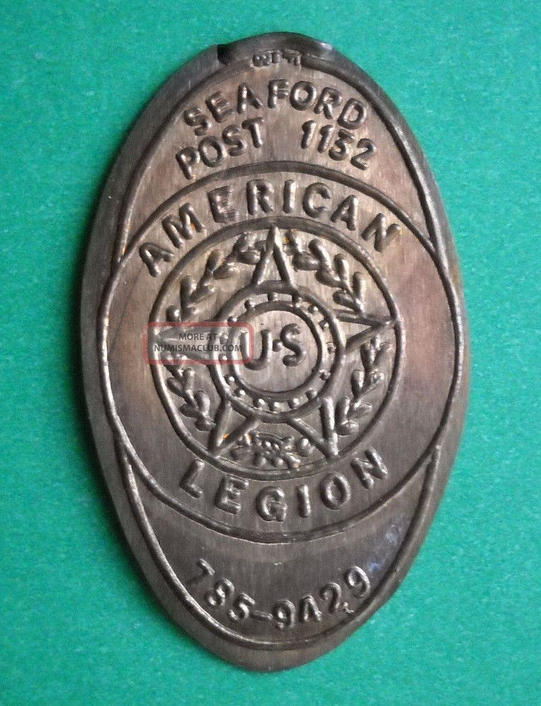 American Legion Elongated Penny Ny Usa Cent Seaford Post 1132 Souvenir Coin Exonumia photo