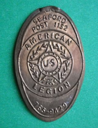 American Legion Elongated Penny Ny Usa Cent Seaford Post 1132 Souvenir Coin photo
