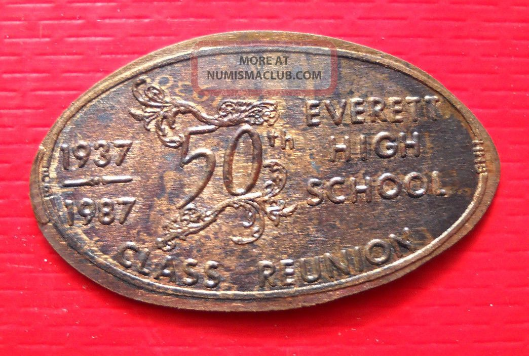 Everett High School Elongated Penny Lansing Mi Usa Cent 1937 1987 Souvenir Coin Exonumia photo