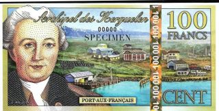 Kerguelen Islands - 100 Francs - Specimen Note - 2010 Issue Polymer Note photo