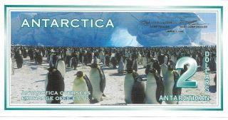 Antarctica $2 - 1996 Issue (printed 2009) - Adelie Penguins - Must Have Note photo