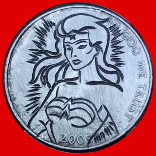 Wonder Woman Coin Art Hobo Nickel 60 photo