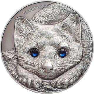 Mongolia 2017 500 Togrog Sable Martes Zibellina 1 Oz Antique Finish Silver Coin photo