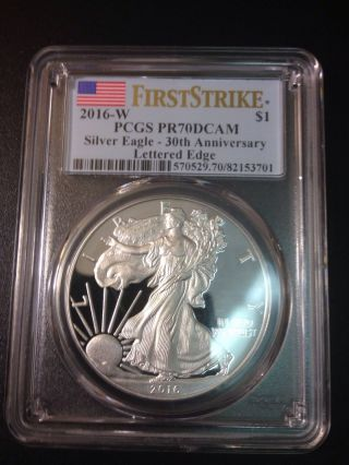 2016 W Pcgs Pr70 30th Anniversary Silver Eagle Lettered Edge photo