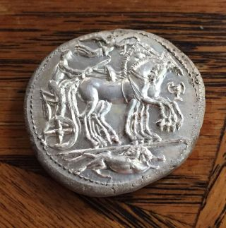 Ancient Greece Syracuse Silver & Copper Coin 200 Bc Horse & Carriage Dekadrachm photo