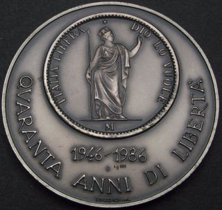 Medal (italy) 40th Anniversary Of Republic Nd (1986) / 5 Lire 1848 - Silver photo