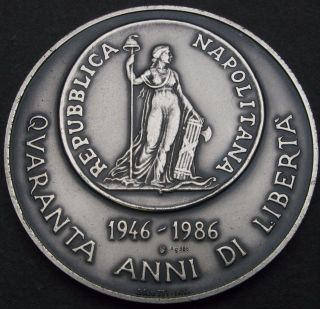 Medal (italy) 40th Anniversary Of Republic Nd (1986) / 12 Carlini 1799 - Silver photo