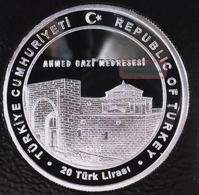 Turkey 20 Lira 2016 Silver 925 Ag. Comm. Coin Unc Becin ...