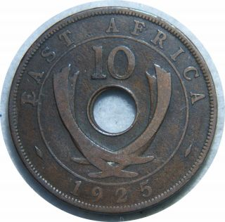 East Africa 10 Cents 1925 Km 19 Bronze I80 photo