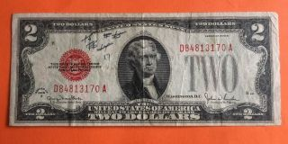 1928g $2 Dollar Bill Old Us Note Legal Great Paper Money Currency Red Seal photo