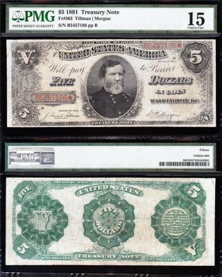 Rare 1891 $5 Gen.  Thomas Treasury Note Pmg 15 B5457186 photo