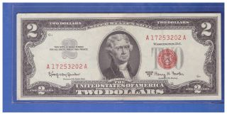 1963a $2 Dollar Bill Old Us Note Legal Tender Paper Money Currency Red Seal N639 photo