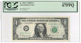 Pcgs 67ppq 1963b $1